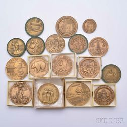 Seventeen Assorted Commemorative Bronze Medals