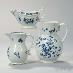 Three English Blue and White Porcelain Items