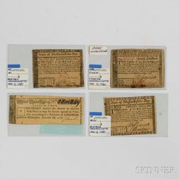 Three Massachusetts Bay Notes and a Continental Congress United States Lottery Ticket