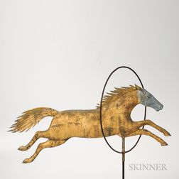 Molded Sheet Copper and Cast Zinc Horse Jumping Through Hoop Weathervane