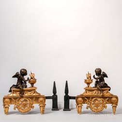 Pair of Louis XV-style Patinated- and Gilt-bronze Chenets