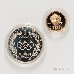 1988-S Olympic Commemorative Proof $5 Gold Coin and a 1988-S Proof $1.     Estimate $200-300