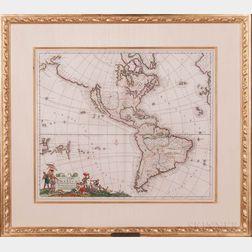 North and South America. Justus Danckerts (1635-1701) Recentissima Novi Orbis sive Americae Septentrionalis et Meridionalis Tabula.
