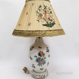 "Herend ""Victoria"" Porcelain Table Lamp and Shade"