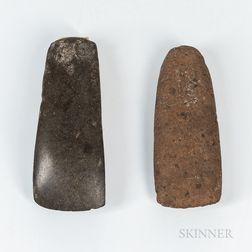 Two Maori Stone Adze Blades