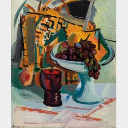 Ben Benn (American, 1884-1983)      Still Life with Red Glass and Grapes