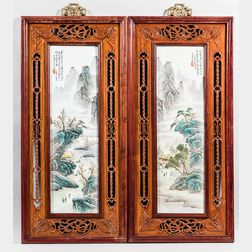Pair of Enameled Porcelain Plaques in Carved Openwork Frames