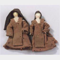Two Grodnertal Wooden Nuns