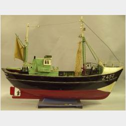 Painted Wooden Model of the Fishing Trawler Rembrandt
