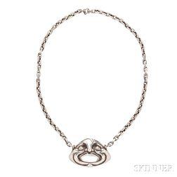 Art Deco Silver Pendant, Etienne David,