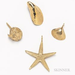 Four 14kt Gold Nautical Pendants