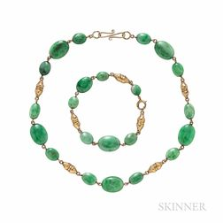 Gold and Jadeite Jade Bead Necklace and Bracelet