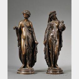 Pair of Bronze Figures of Classical Maidens