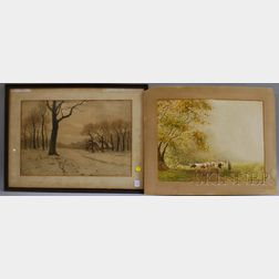 Continental School, 19th/20th Century      Lot of Two Watercolors: Brasschaet prés Anvers/Belgique