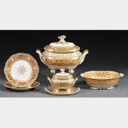 English Gilt and Peach Porcelain Partial Dinner Service