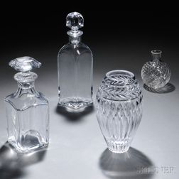 Three Baccarat Items and a Faberge Atelier Vase