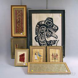 Seven Framed Textiles and Works
