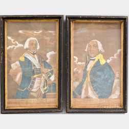 Pair of Framed L. Evans Hand-colored Engravings of Lord Vicount [sic] Duncan and Admiral de Winter
