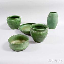 Five Green Matte-glazed Art Pottery Vessels