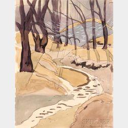 Charles Ephraim Burchfield (American, 1893-1967)      Brook