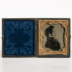Sixth-plate Tinted Ambrotype of a Folk Profile Portrait of a Young Man