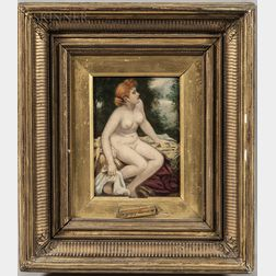 Attributed to Henry Bacon (American, 1839-1912)      Seated Nude in a Landscape