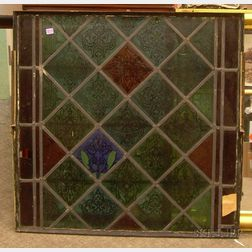 Architectural Leaded Stained Glass Window Panel