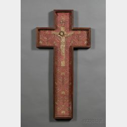 Continental Metallic-thread and Silk-work Embroidered Crucifix