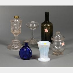 Six Assorted Colorless and Colored Glass Table Items