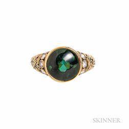 18kt Gold, Green Tourmaline, and Diamond Ring, Alex Sepkus