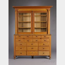 Classical Grain-painted Glazed Two-part Apothecary Cupboard