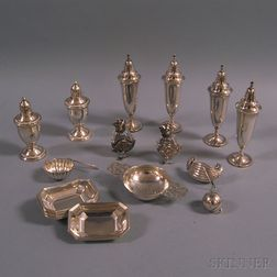 Group of Small Sterling Silver and Silver-mounted Tableware