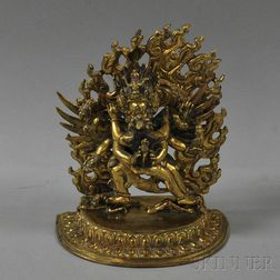 Gilt-bronze Figure of Yamantaka and His Consort