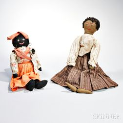 Two Primitive Black Girl Cloth Dolls