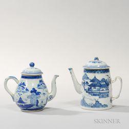 Two Canton Export Porcelain Tea/Coffee Pots