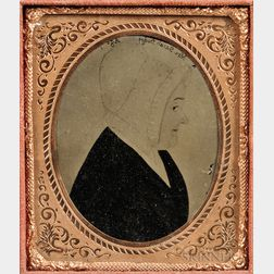 Sixth-plate Tinted Ambrotype of a Justus DaLee Folk Portrait Profile of Mrs. Sarah Dodge