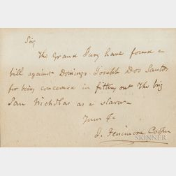 James Fenimore Cooper Signed Letter to a Gentleman