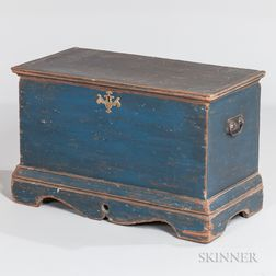 Small Blue-painted Pine Blanket Chest