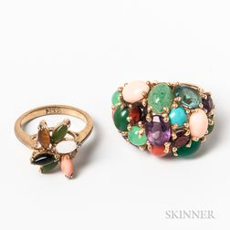 Two Gemstone- and Hardstone-set Rings