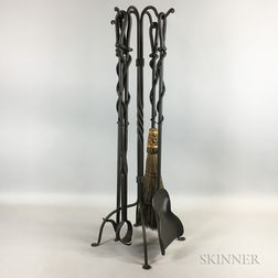 Four Wrought Iron Fireplace Tools and a Stand