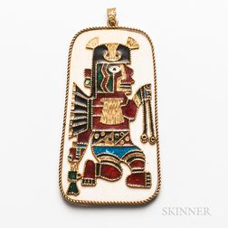 Large Enameled Aztec-style Pendant Plaque