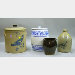 Three Pieces of Decorated and Glazed Stoneware and a Large German Blue and White   Floral Decorated Jar with Cover