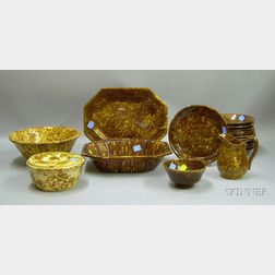 Sixteen Pieces of Rockingham and Bennington Glazed Tableware and Two Pieces of   Spongeware