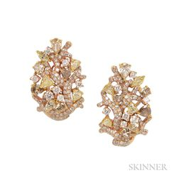 18kt Rose Gold, Colored Diamond, and Diamond Earrings