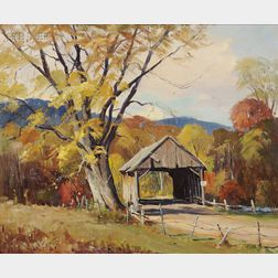 Otis Pierce Cook  Jr (American, 1900-1980)      Covered Bridge /  A View of Beebe River, New Hampshire