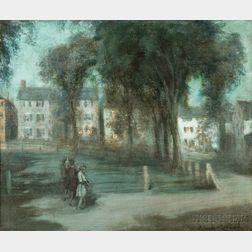 Orlando Rouland (American, 1871-1945)      Moonlight Washington Square, Marblehead, Mass.