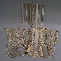 Large Group of Faux Pearl Costume Jewelry