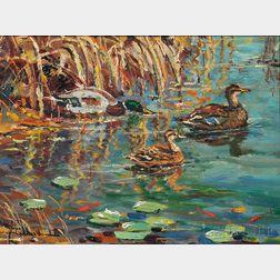 Wayne Beam Morrell (American, 1923-2013)      Mallard Ducks in a Rockport, Mass., Pond