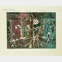 American School, 20th Century      Three Framed Abstract Works