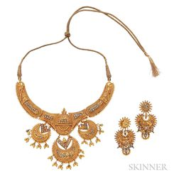22kt Gold Necklace and Earrings